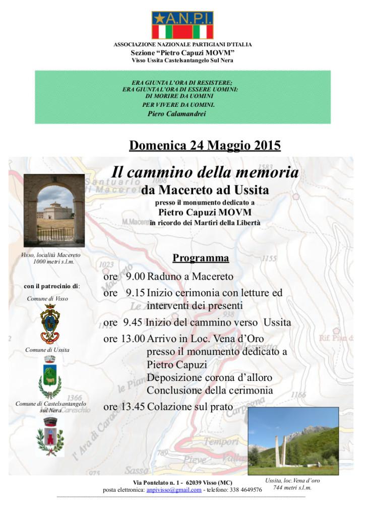 ORIG. manifesto  Cammino d. memoria Macereto Ussita 2015