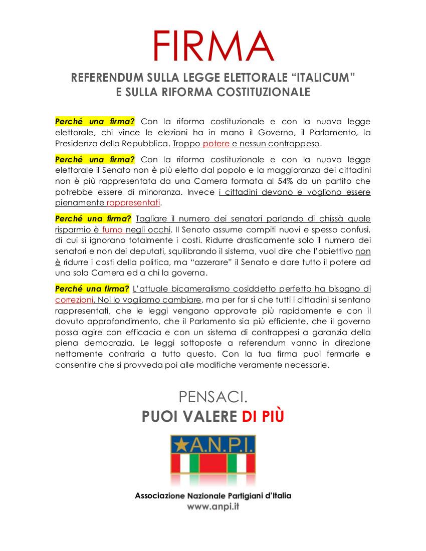 Volantino ANPI sui referendum